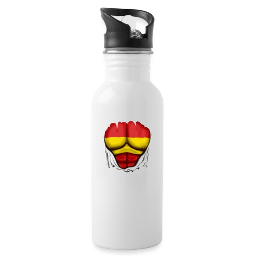 España Flag Ripped Muscles six pack chest t-shirt - Water bottle with straw