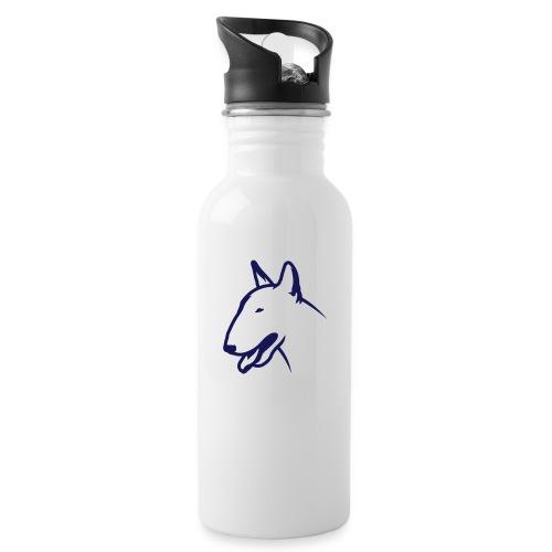 Bullterrier BULLY HEAD 1c_4light - Trinkflasche mit integriertem Trinkhalm