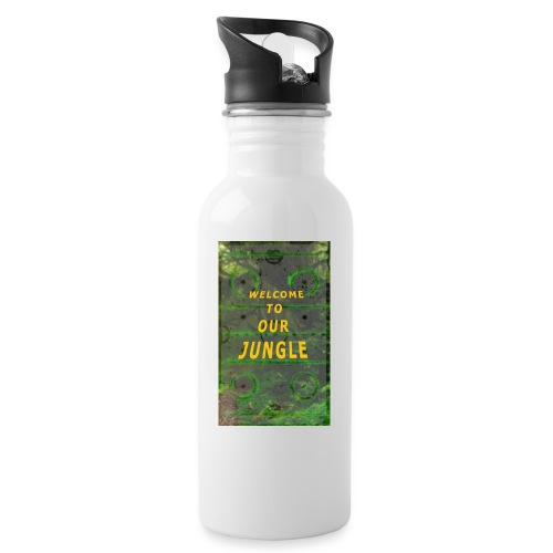 Welcome to our hockey jungle - Trinkflasche mit integriertem Trinkhalm