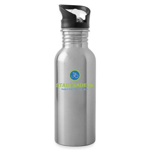 Stadtradeln quadratisch CMYK 300dpi jpg - Trinkflasche mit integriertem Trinkhalm