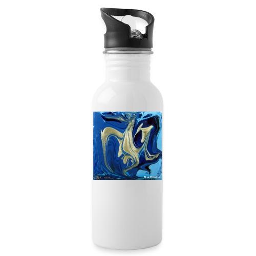 TIAN GREEN Welt Mosaik - AT042 Blue Passion - Trinkflasche mit integriertem Trinkhalm