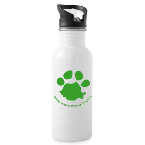 pfote logo - Trinkflasche mit integriertem Trinkhalm