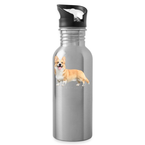 Topi the Corgi - White text - Water Bottle