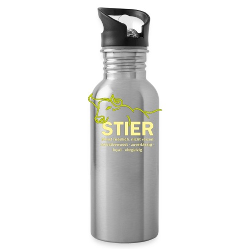 Stier Strich Gruen Text Gelb - Trinkflasche