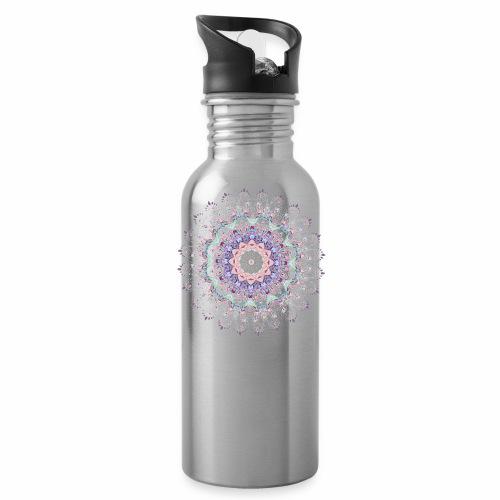 Hvid mandala - Drikkeflaske med integreret sugerør
