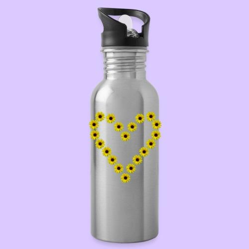 Sonnenblumenherz, Sonnenblumen, Sonnenblume, Herz - Trinkflasche