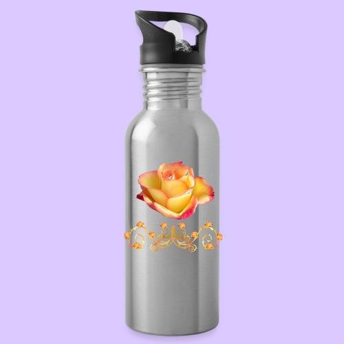 orange Rose, Ornament, Rosen, Blumen, Blüten, edel - Trinkflasche