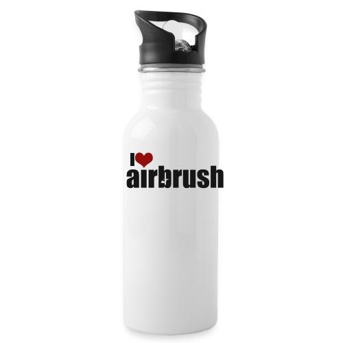 I Love airbrush - Trinkflasche mit integriertem Trinkhalm