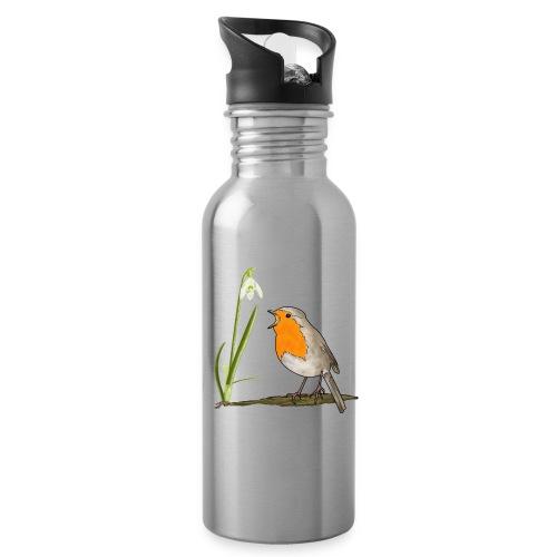 Frühling, Rotkehlchen, Schneeglöckchen - Trinkflasche