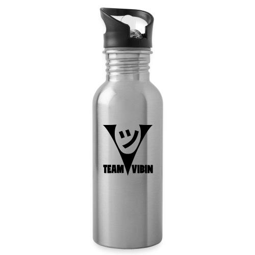 Team Vibing Logo Svart - Vattenflaska med integrerat sugrör