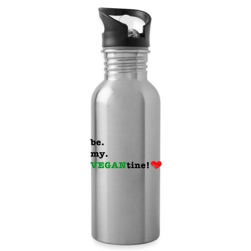 VEGANtine Green - Water bottle with straw