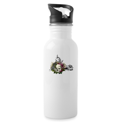 Floral Skull with Cross - Trinkflasche