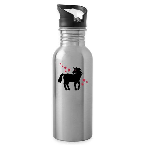 Einhorn - Trinkflasche mit integriertem Trinkhalm