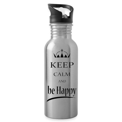 keep_calm and_be_happy-01 - Borraccia con cannuccia integrata
