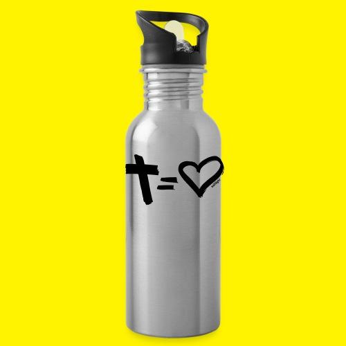 Cross = Heart BLACK - Water Bottle