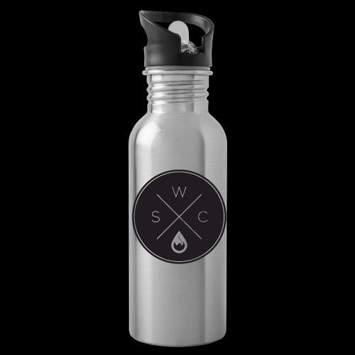 WS-Crew Hipster-Logo rund schwarz - Trinkflasche