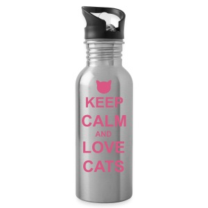 Keep Calm and Love Cats - Pink - Water Bottle
