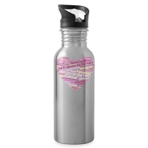 Hjerte - Drikkeflaske med integreret sugerør