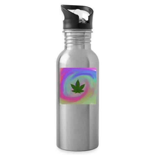 Hanfblatt auf bunten Hintergrund - Trinkflasche