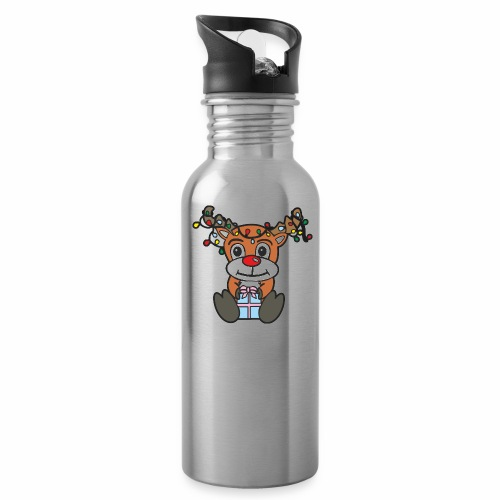 Rentier mit Lichterkette - Trinkflasche