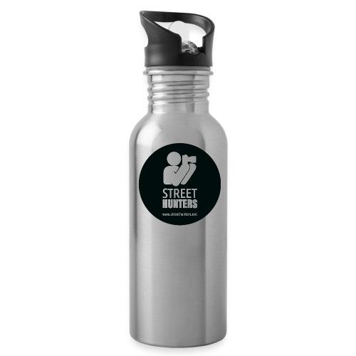 white logo on black circle URL png - Water Bottle