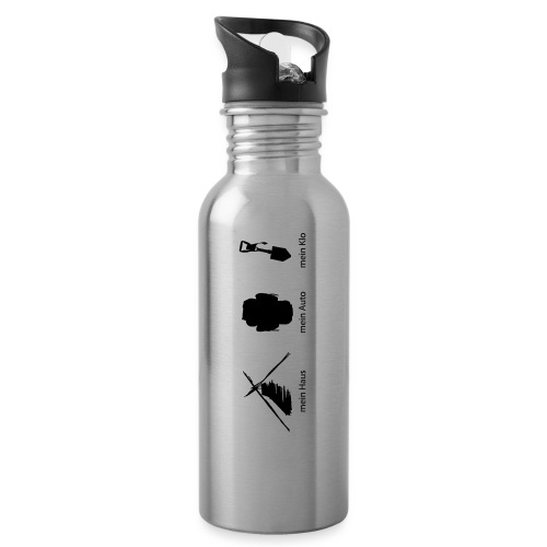 Haus Auto Klo - Trinkflasche mit integriertem Trinkhalm