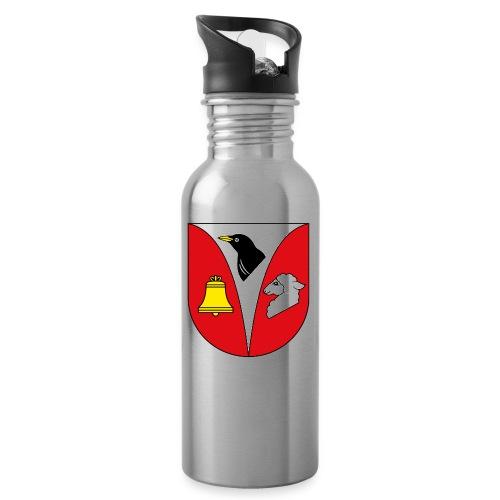 wappen_krukow_frei - Trinkflasche mit integriertem Trinkhalm