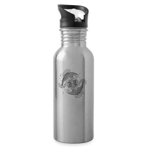 Fische - Trinkflasche mit integriertem Trinkhalm