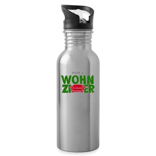 Wohnzimmer-Logo - Trinkflasche mit integriertem Trinkhalm