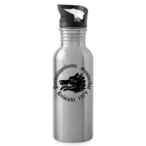 Susiveikot-logo tekstillä - Juomapullo, jossa pilli