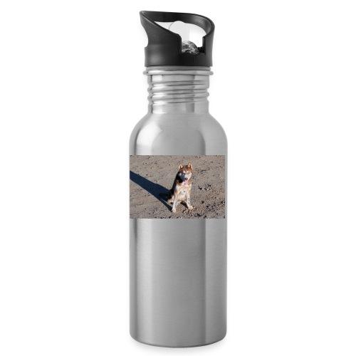 Perro amigable - Botella cantimplora con pajita integrada