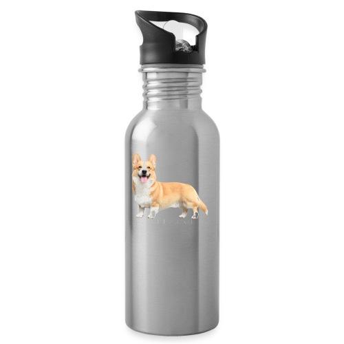 Topi the Corgi - White text - Water bottle with straw