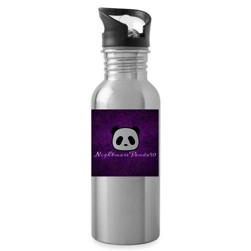 nightmare panda watermark - Water bottle with straw