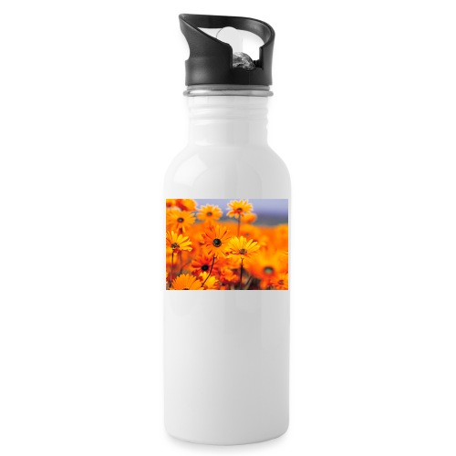 Flower Power - Water bottle with straw