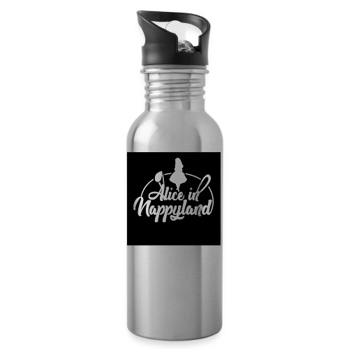 Alice in Nappyland TypographyWhite 1080 - Water bottle with straw