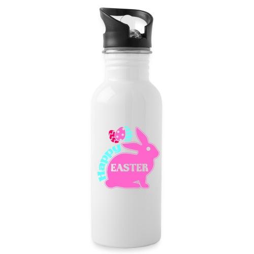 Happy Easter - Frohe Ostern - Trinkflasche mit integriertem Trinkhalm
