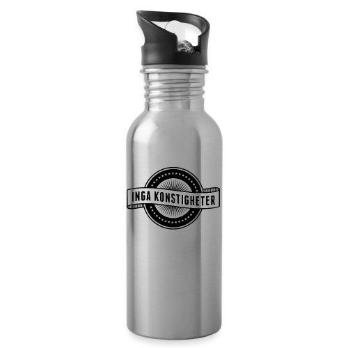 Inga Konstigheters klassiska logga (ljus) - Vattenflaska med integrerat sugrör