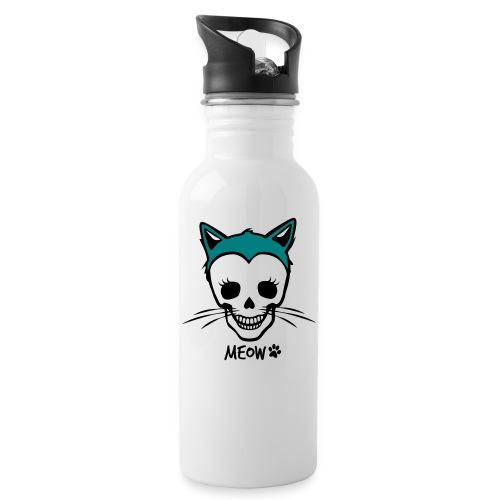 Katzenliebe für immer - Trinkflasche mit integriertem Trinkhalm