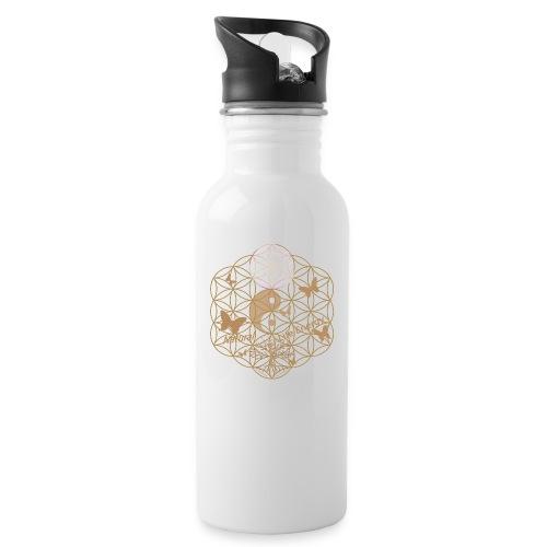 Das Leben umgeben von Energie. Blume des Lebens. - Trinkflasche mit integriertem Trinkhalm