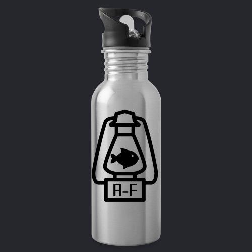 Logo Simple Black - Trinkflasche mit integriertem Trinkhalm