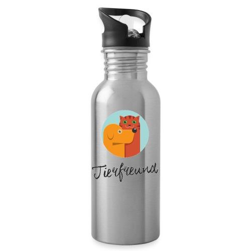 Tierfreund mit Schriftzug - Trinkflasche mit integriertem Trinkhalm