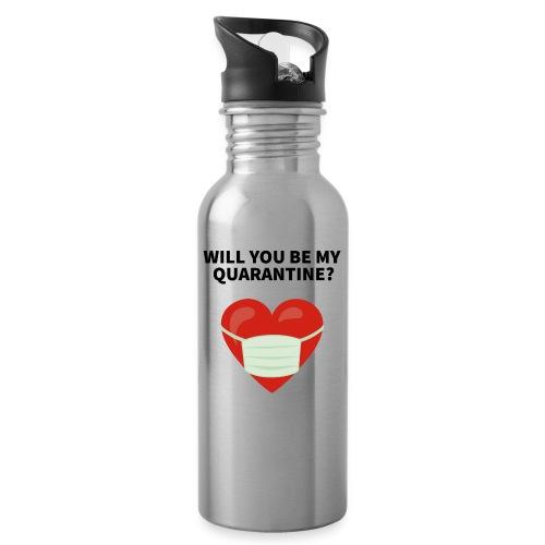 Herz mit Mundschutz und Schriftzug - Trinkflasche mit integriertem Trinkhalm