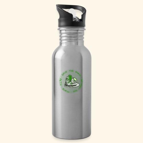 Aktiv durch das Leben - Save the earth - Trinkflasche mit integriertem Trinkhalm