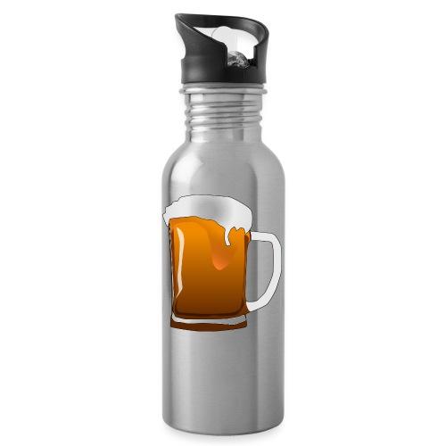 Cartoon Bier Geschenkidee Biermaß - Trinkflasche mit integriertem Trinkhalm