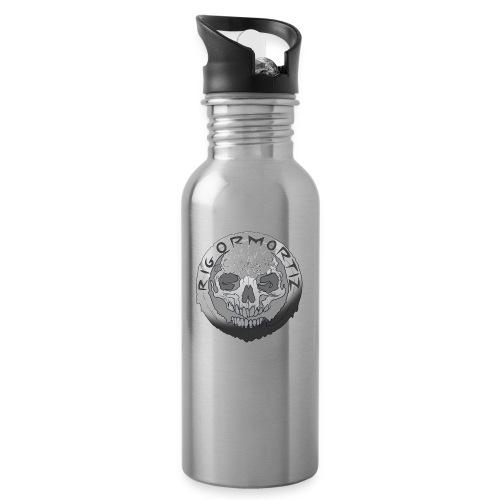 Rigormortiz Black and White Design - Water bottle with straw