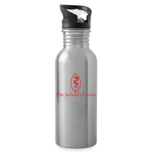 SoM Crest (Red) w/ Text - Water bottle with straw
