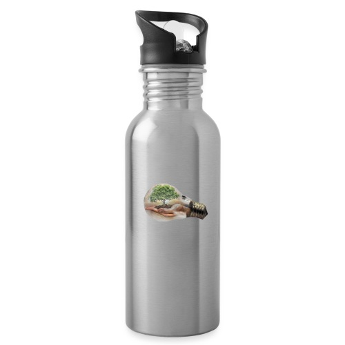 Baum und fliege in einer Glühbirne Geschenkidee - Trinkflasche mit integriertem Trinkhalm