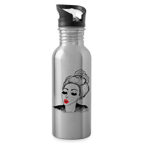 Vintage Retro Girl Kiss message - Water bottle with straw
