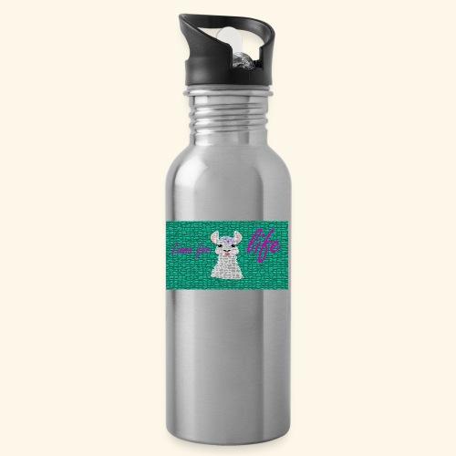 lama / alpaca - Trinkflasche mit integriertem Trinkhalm