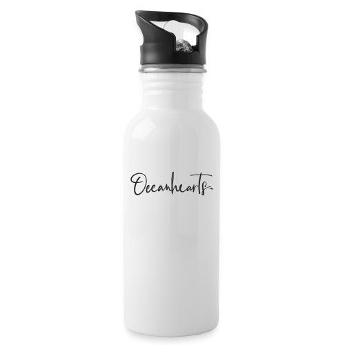 Oceanhearts Logo black - Trinkflasche mit integriertem Trinkhalm